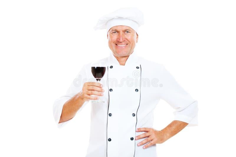 szef kuchni szklany mienia smiley wino zdjęcie royalty free