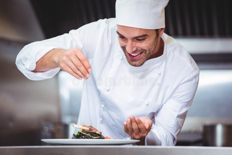 Szef kuchni Tryskaczowe pikantność Na naczyniu obraz stock