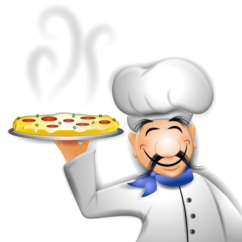 szef kuchni trzyma gorącą pizzę ilustracji