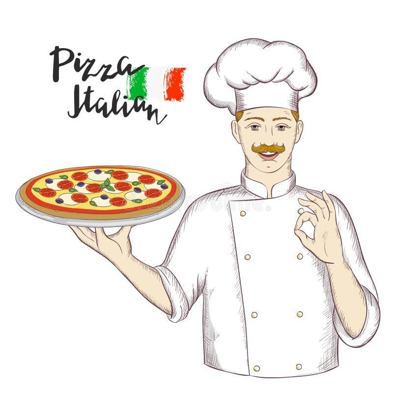 Szef kuchni trzyma naczynie z pizzą i daje zadowalającemu znakowi ilustracji