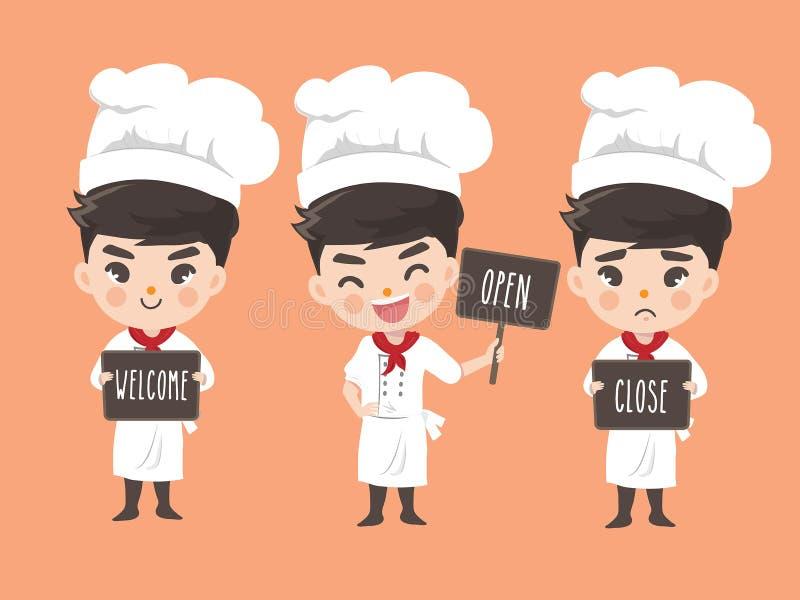 Szef kuchni trzyma signage ilustracja wektor