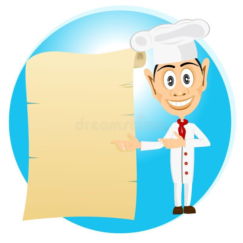 Szef kuchni trzyma starą papierową ślimacznicę ilustracja wektor