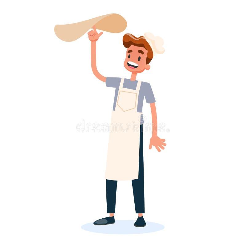 Szef kuchni w jednolitym przędzalnianym pizzy cieście ilustracji