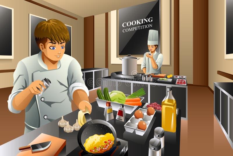 Szef kuchni w Kulinarnej rywalizaci ilustracji