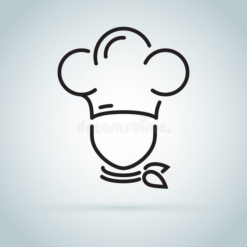 Szef kuchni w kulinarnym kapeluszowym konturu logu Kuchenna prosta czarna ikona royalty ilustracja