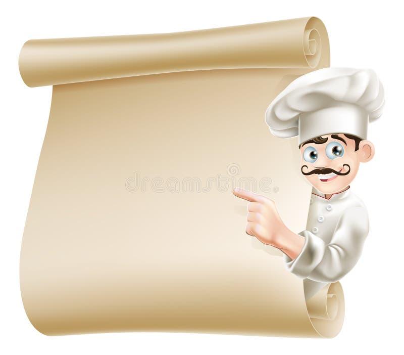 Szef kuchni wskazuje przy menu ilustracja wektor