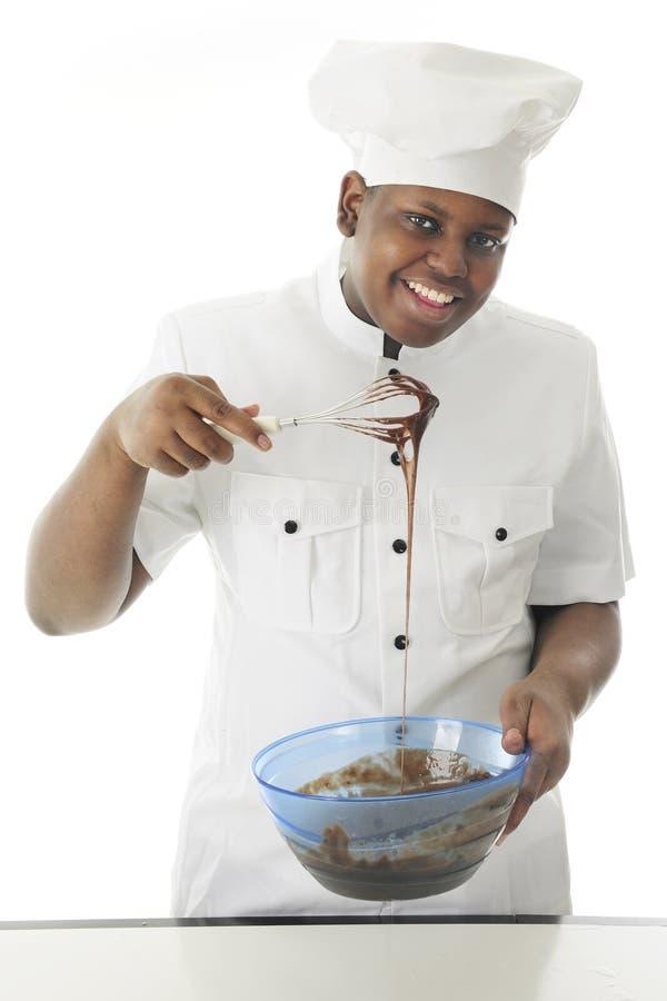 Szef kuchni z Bieżącym ciastem naleśnikowym zdjęcia royalty free