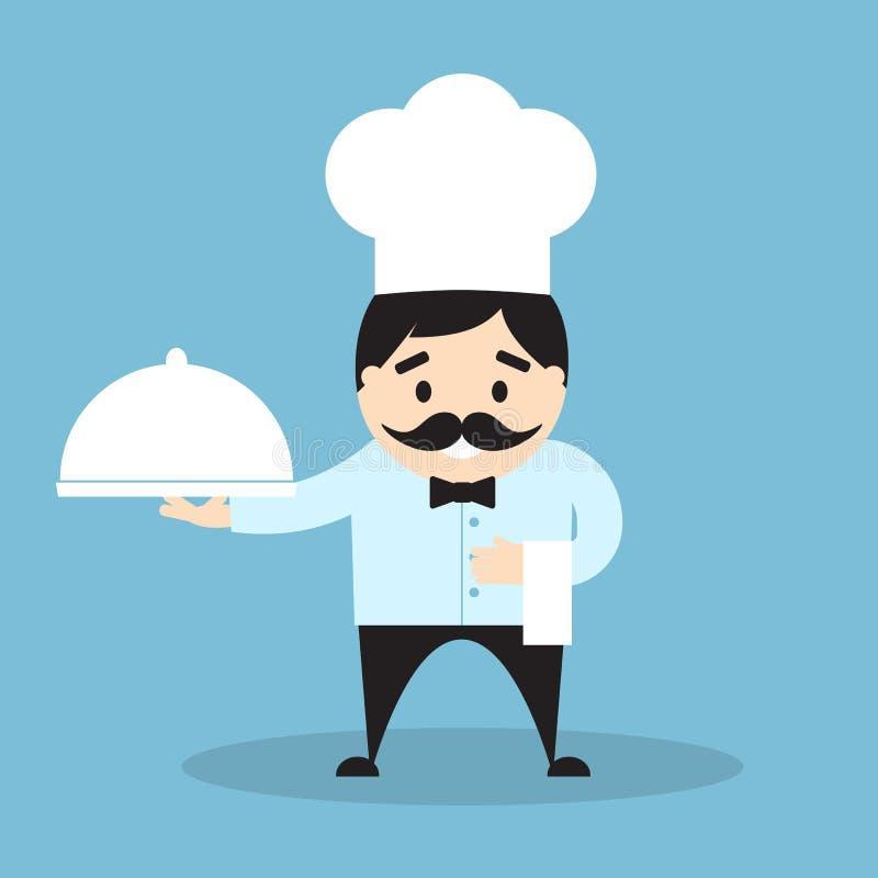 Szef kuchni z cloche i ręcznikiem ilustracja wektor