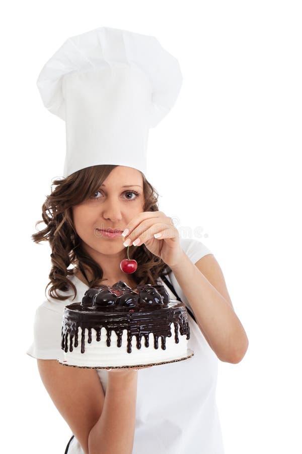 Szef kuchni z Czekoladowym tortem fotografia stock