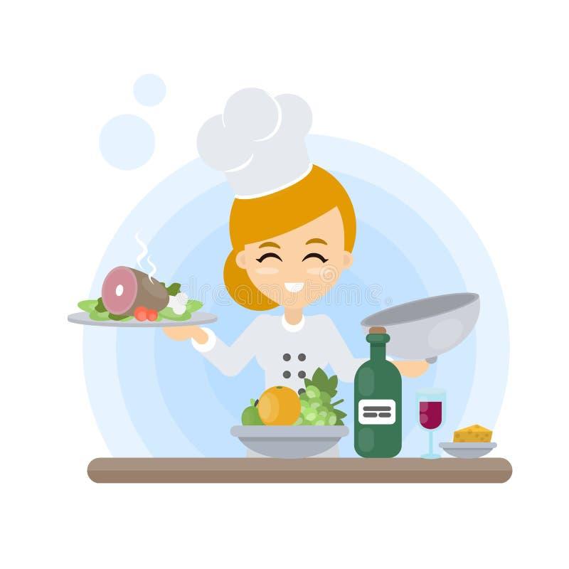 Szef kuchni z jedzeniem ilustracja wektor
