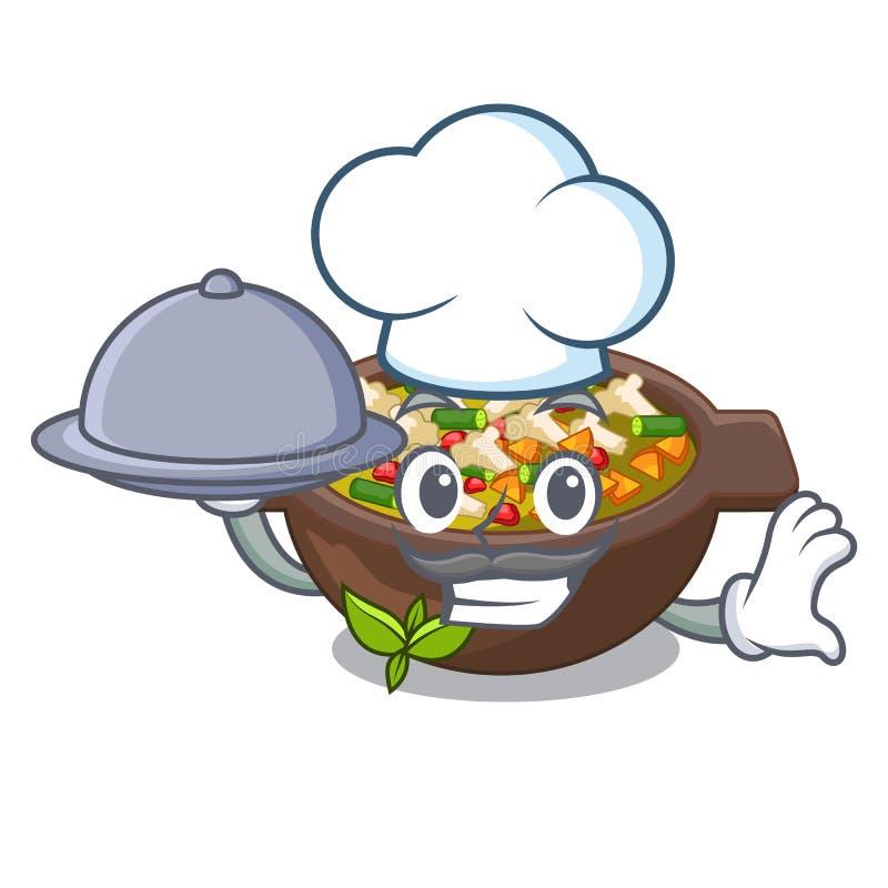 Szef kuchni z jedzeniem smażył minestrone w filiżanka charakterze ilustracja wektor
