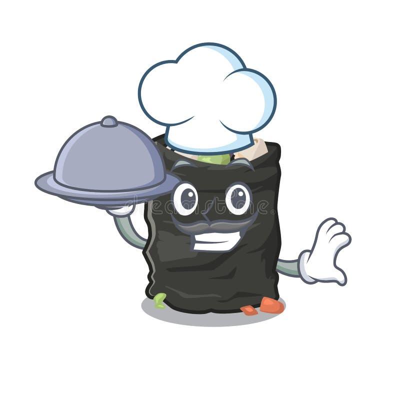 Szef kuchni z karmową kreskówki torbą na śmiecie obok stołu ilustracja wektor