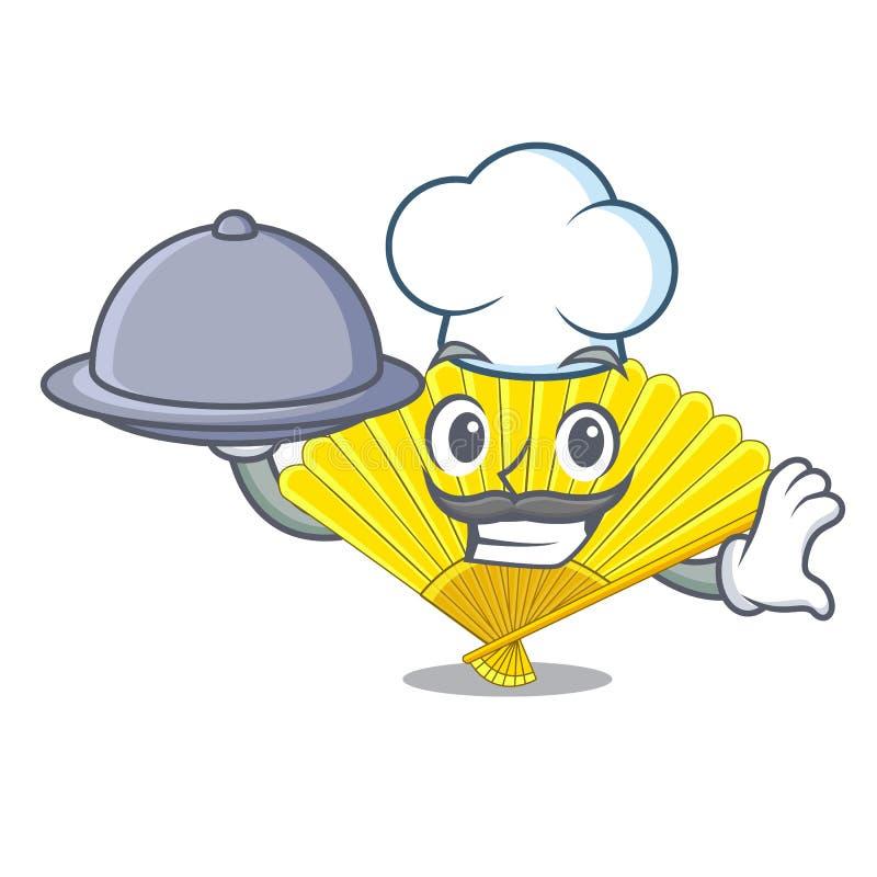 Szef kuchni z karmowym falcowania fan kształt drewniana maskotka royalty ilustracja