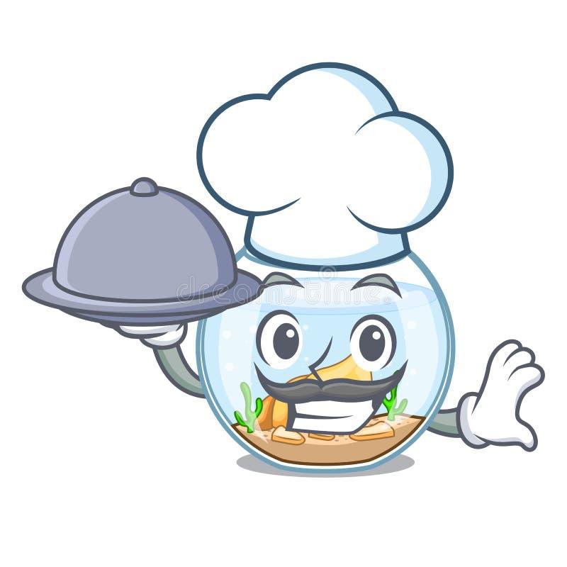 Szef kuchni z karmowym fishbowl doskakiwaniem na zewnątrz charakteru dalej ilustracja wektor