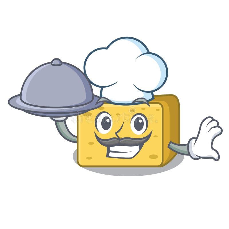 Szef kuchni z karmowym gouda serem składa kreskówkę royalty ilustracja
