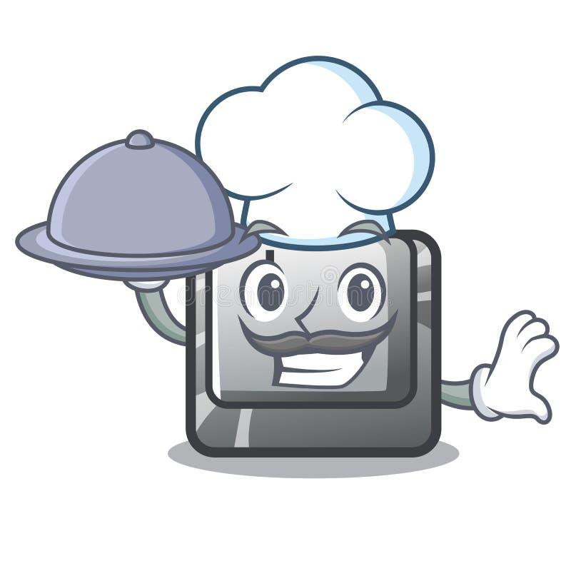Szef kuchni z karmowym guzikiem J na komputerowym charakterze ilustracji