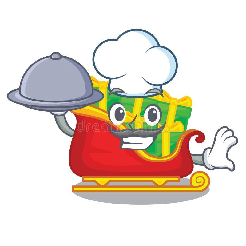 Szef kuchni z karmowym Santa saniem z boże narodzenie charakteru prezentami ilustracji