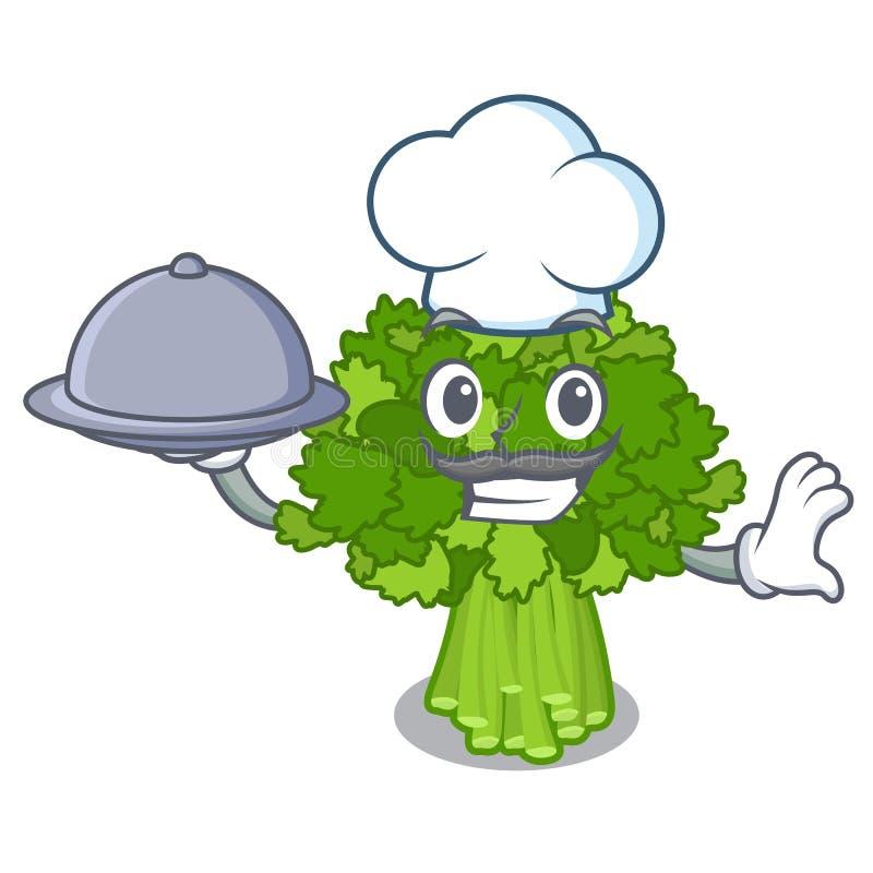 Szef kuchni z karmowymi rabe brokułami w jarzynowym maskotka koszu ilustracja wektor