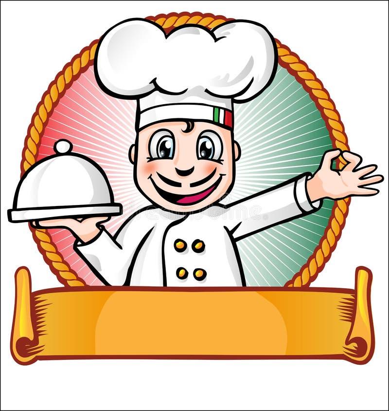 Szef kuchni z naczyniem royalty ilustracja