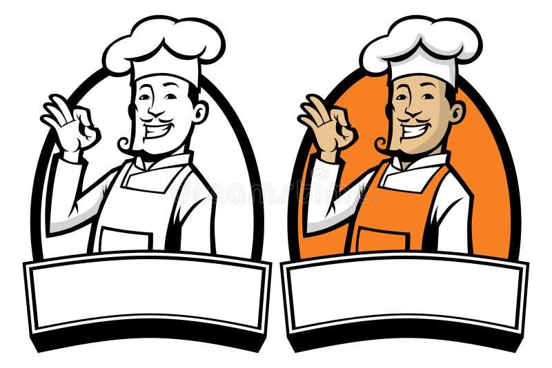 Szef kuchni z ok znaka ręką ilustracji