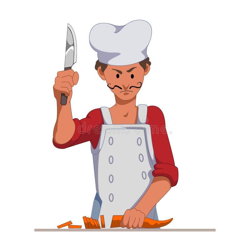 Szef kuchni z ostrego noża plasterkiem marchewki Kulinarny jarski naczynie lub sałatka Postać Z Kreskówki odizolowywający na whit ilustracja wektor