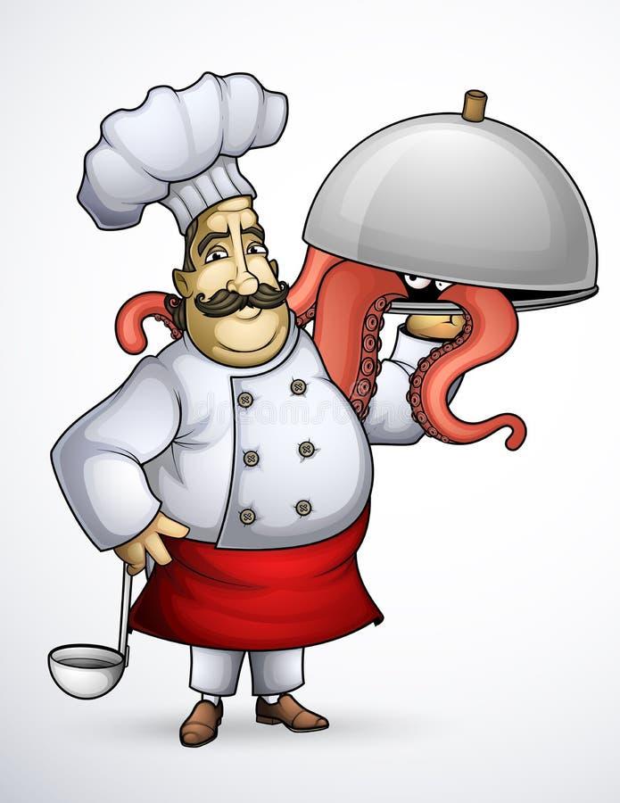 Szef kuchni z podpisów naczyniami czułki royalty ilustracja