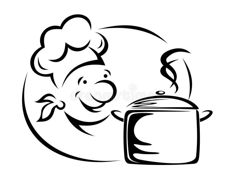 Szef kuchni z rondlem royalty ilustracja