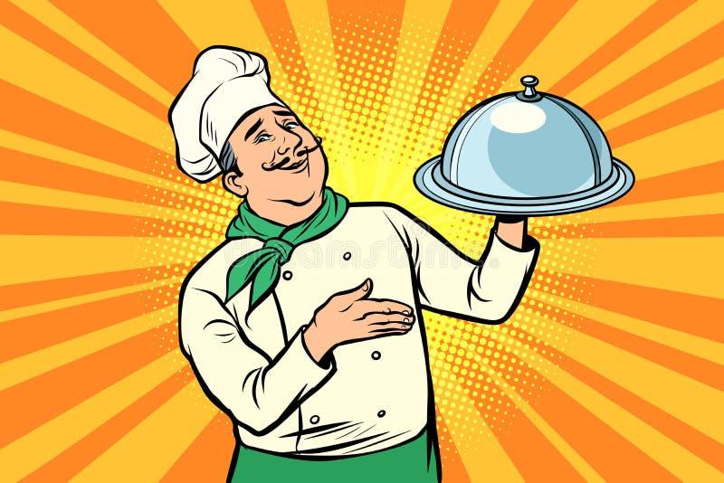 Szef kuchni z tacą z deklem ilustracji