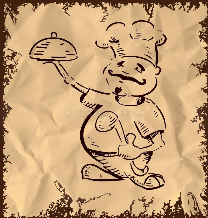 Szef kuchni z tacą jedzenie w ręce royalty ilustracja