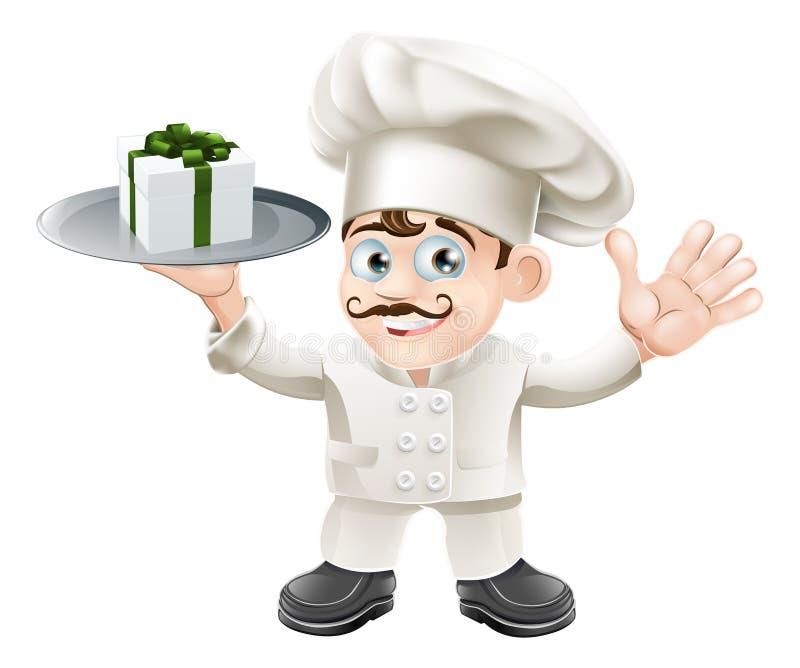 Szef kuchni z teraźniejszością royalty ilustracja
