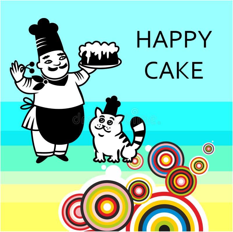 Szef kuchni z tortem i kotem ilustracja wektor