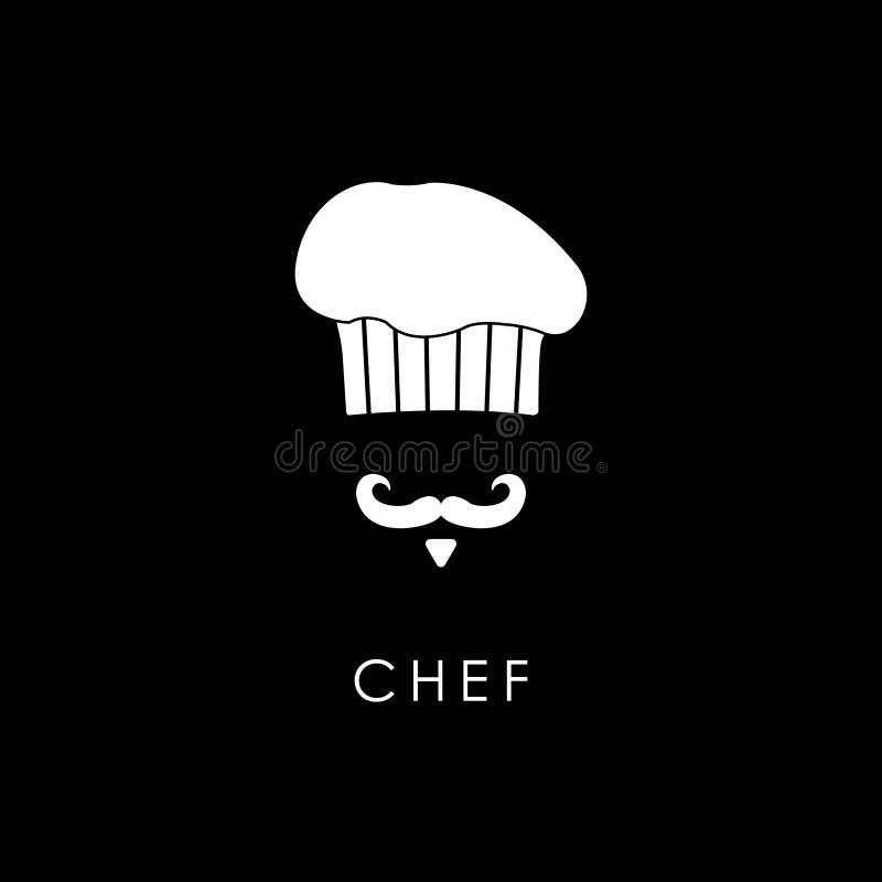 Szef kuchni z wąsy i toque ilustracji