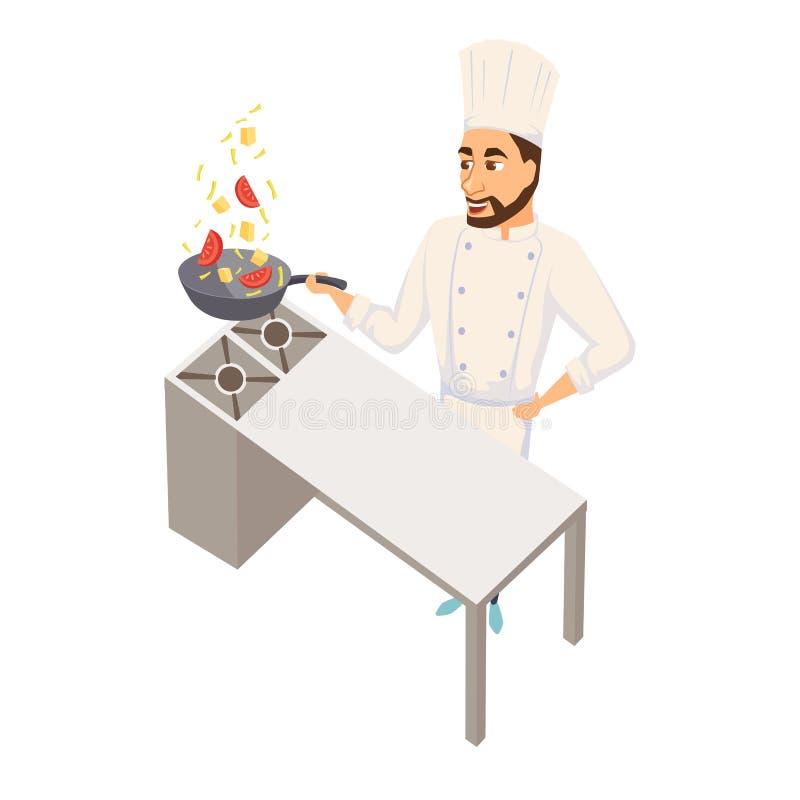 Szef kuchni z wok niecką royalty ilustracja