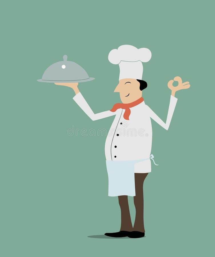 szef odosobnionego kucharza biel ilustracja wektor