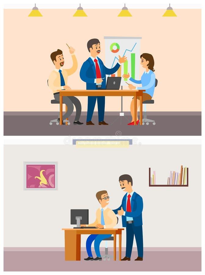 Szef pracodawca z pracownikami, spotkanie drużyna royalty ilustracja