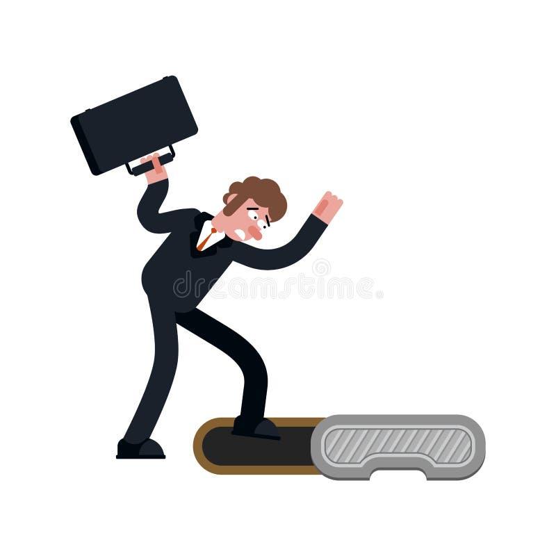 Szef w manhole metra kanał ściekowego biznesmen spadał Ściekowy hatc ilustracja wektor