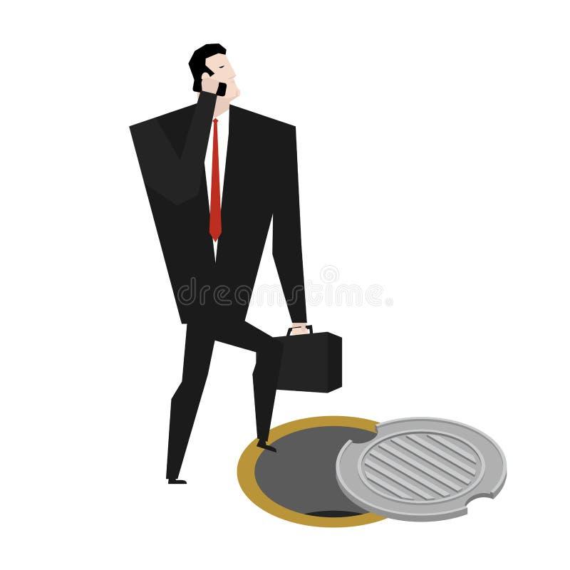 Szef w manhole metra kanał ściekowego biznesmen spadał Ściekowy hatc ilustracji