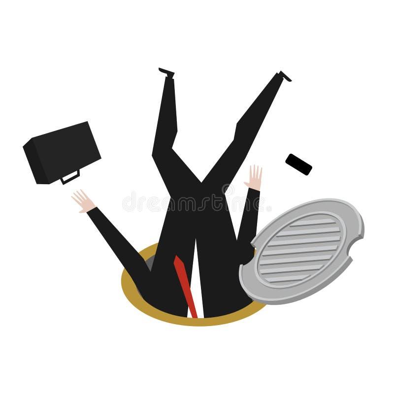 Szef w manhole metra kanał ściekowego biznesmen spadał Ściekowy hatc royalty ilustracja