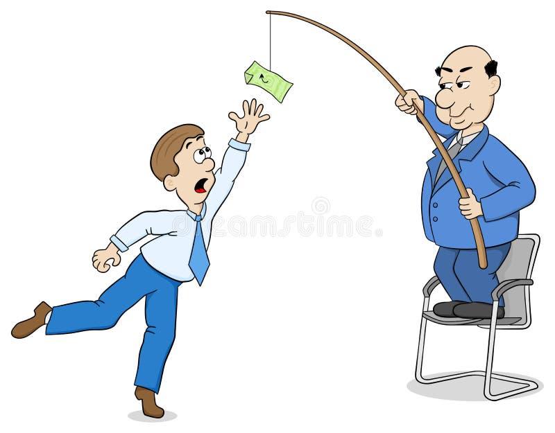 Szef wabije pracownika z pieniądze royalty ilustracja