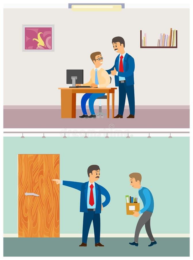 Szef Zwalnia pracownika, bezrobotni Podpalał mężczyzny royalty ilustracja