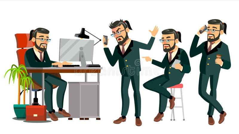 Szefa CEO charakteru wektor IT Rozpoczęcie Biznes Firma Ciało szablon Dla projekta Różnorodne pozy, sytuacje kreskówka royalty ilustracja