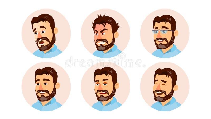 Szefa charakteru Avatar wektoru ludzie biznesu Nowożytna Biurowa Brodata szefa mężczyzna twarz, emocje Ustawiać Kreatywnie Avatar royalty ilustracja