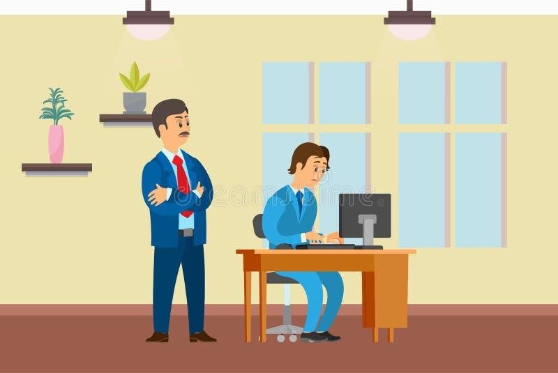 Szefa dopatrywania działania proces nowicjusza pracownik royalty ilustracja