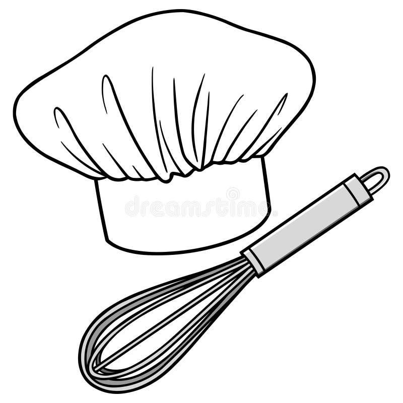 Szefa kuchni śmignięcie i kapelusz ilustracji