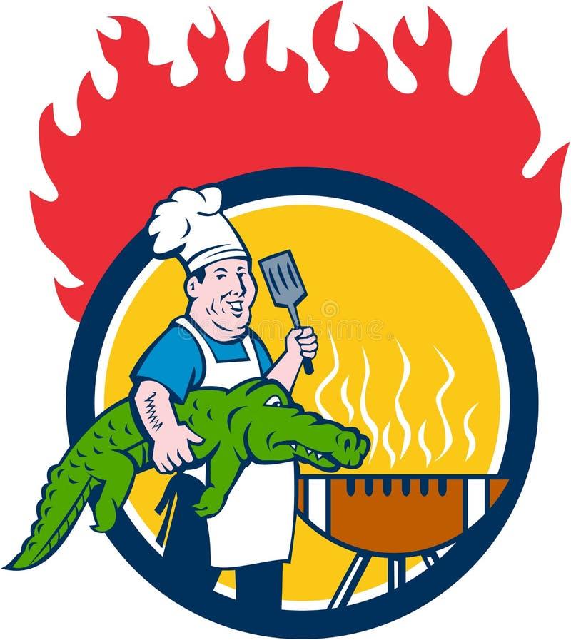 Szefa kuchni aligatora szpachelki BBQ grilla ogienia okręgu kreskówka ilustracja wektor