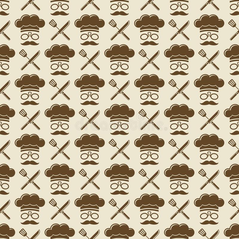 Szefa kuchni bezszwowy deseniowy projekt - kuchenna bezszwowa tekstura royalty ilustracja
