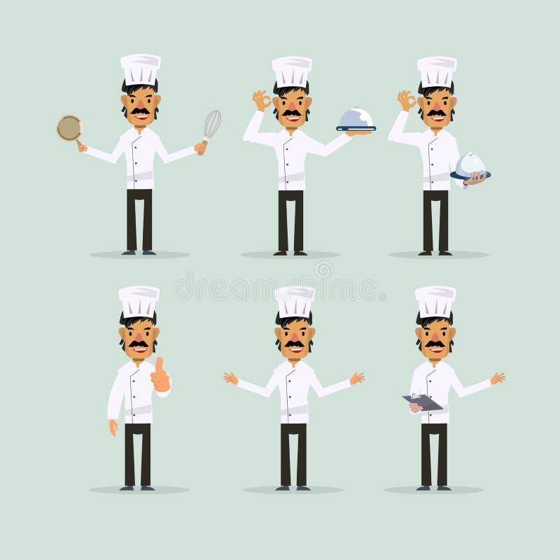 Szefa kuchni charakter - set - ilustracja wektor