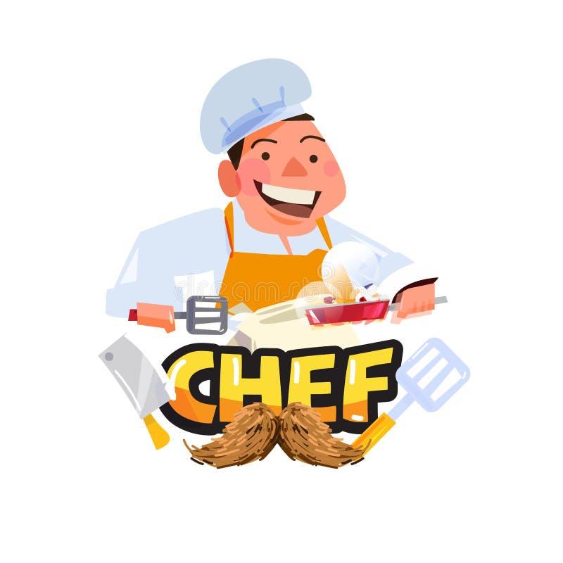 Szefa kuchni charakter z typograficznym gotować lub szefa kuchni logo - i royalty ilustracja