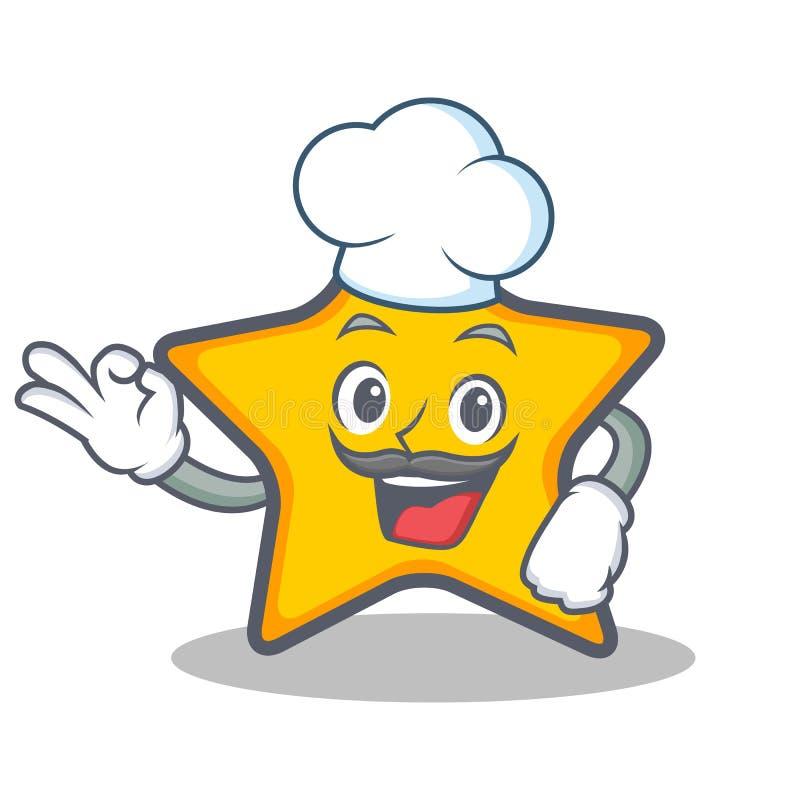 Szefa kuchni charakteru kreskówki gwiazdowy styl ilustracji