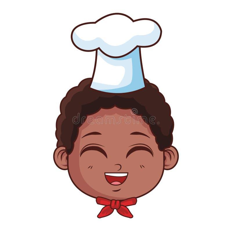 Szefa kuchni dzieciaka uśmiechnięta twarz ilustracja wektor